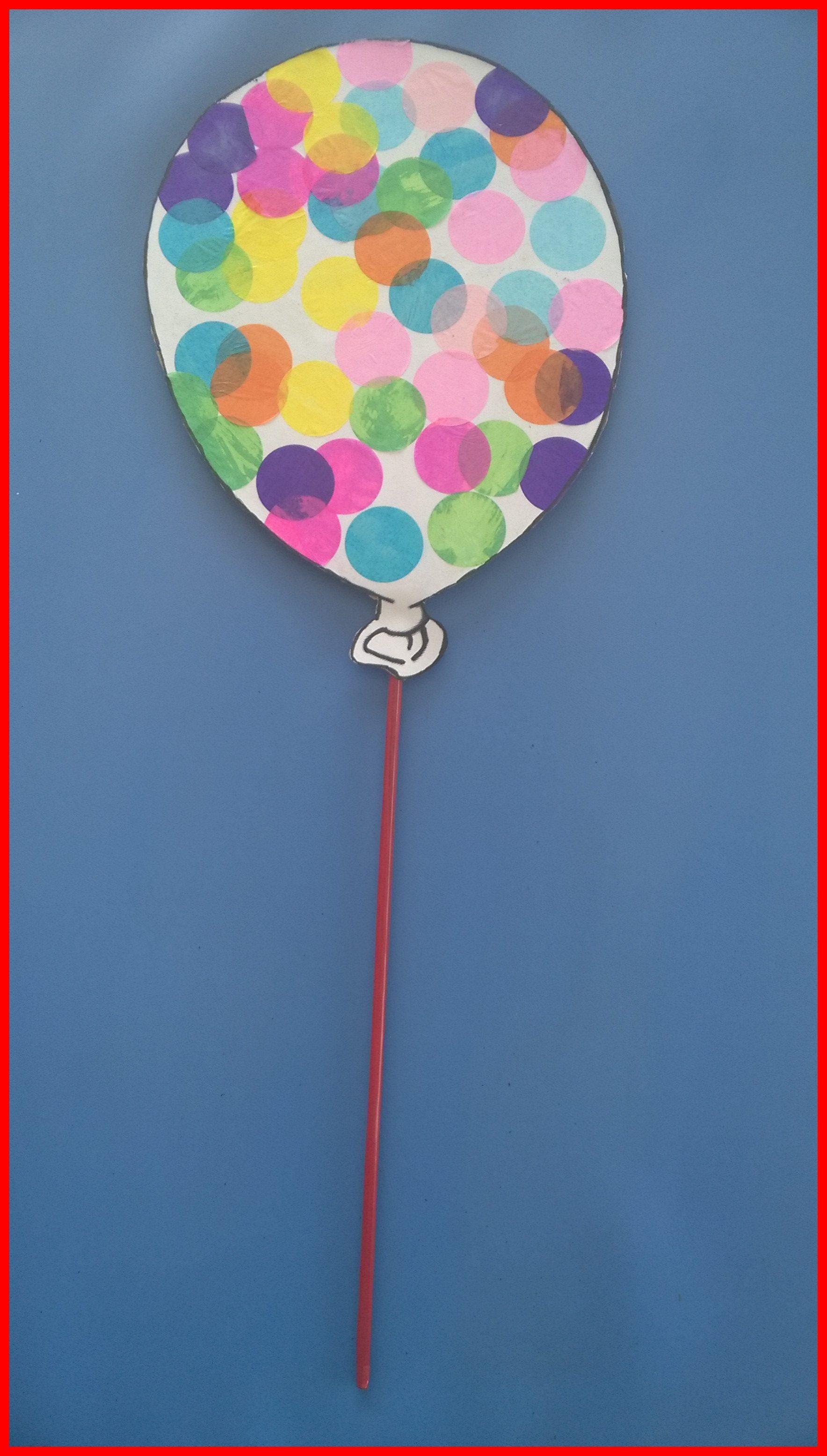 MATERIEL UTILISE coloriage d un ballon de baudruche confettis ronds 3 5 cm de diam¨tre colle blanche carton de récupération assez épais
